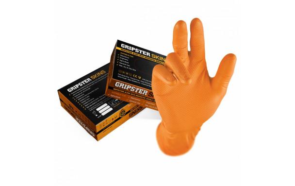 Boite de 50 gants d'atelier GRIP jetables Nitriles orange - taille L