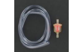 Kit durite essence 5x8 transparente 1 mètre + filtre essence conique D6