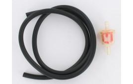 Kit durite essence 5x8 noire 1 mètre + filtre essence conique D6
