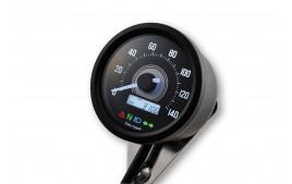 DAYTONA Digital compteur vitesse, VELONA 2, noir case, rond D. 60 mm, up to 140 km/h, avec support
