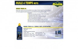 Huile 4 Temps Nano Tech 4+ 10W40 , 100% synthèse, 1L PUTOLINE