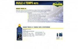 Huile 4 Temps Nano Tech 4+ 10W50 , 100% synthèse, 1L PUTOLINE