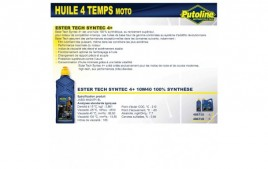 Huile 4 Temps syntec 4+ 10W40 , 100% synthèse, 1L PUTOLINE