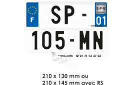 Film reflectorisant SIV MOTO 210 x 130/145 mm + n° departement (homologué)